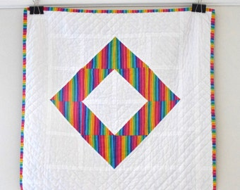 Bright Modern Baby Quilt - Rainbow Stripes - Toddler Quilt - Stroller Quilt