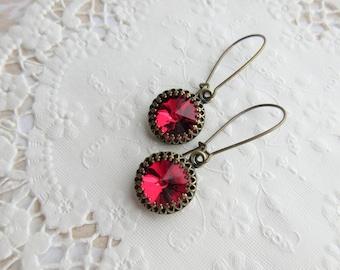 Red Earrings, Long Dangle Earrings, Crystal Earrings, Rivoli Earrings, Kidney Wire Earrings, Rhinestone Earrings, Clip On Earrings Available