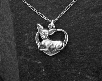 Sterling Silver Chihuahua Lovers Pendant on a Sterling Silver Chain