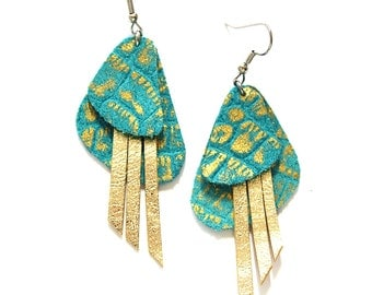 Crocodile Textured Gold and Turquoise Leather Earrings with Gold Fringe