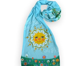 Gift for sunny Granny or Teacher, Sun and breeze in azure sky, cyan painted scarf, Summer fashion, summer time, sun symbol, positive art
