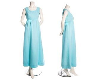 Robins egg blue vintage maxi dress -- ankle length maxi dress -- empire waist sleeveless dress -- princess dress -- size xs / small