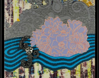 One of a Kind Mixed Media Wall Piece with Removable Jewelry | SP872 with Brooch