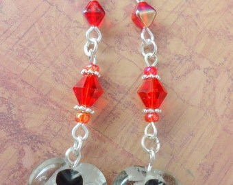 Clearance/destash Ayla's Bead Creations silver-lined  black & red crystal earring BBMB