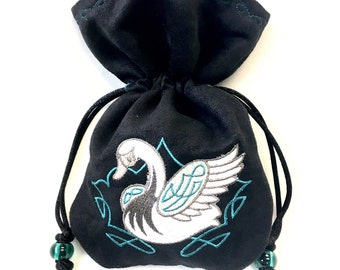 CELTIC SWAN - Mini Faux Suede Embroidered Pouch for Dice, Runes, LaRp accessory