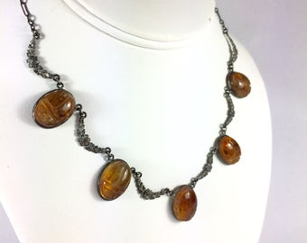 Sterling & Citrine Egyptian Revival Scarab Choker Necklace