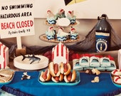 Jaws Shark Party Beach Closed Sign - INSTANT DOWNLOAD - Printable Birthday Party Decorations