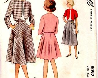 Size 7 Girls 1950 Simplicity 8092 Two Piece Suit Girl Short Jacket Girls Skirt Girls Bolero Pattern Girls Full Skirt Sewing Pattern Supply c