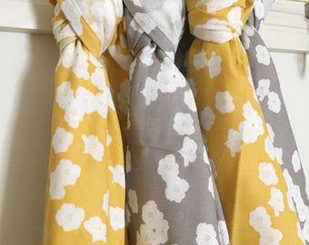 Muslin Swaddle Blanket / Floral Swaddle Blanket, Receiving Blanket, Nursing Cover, Organic Swaddle Wrap, Organic Swaddle, Muslin Swaddle