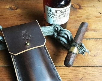 Leather Cigar Case * Cigar Pouch * Handmade in USA * Sorringowl & Sons * Ready To Ship!