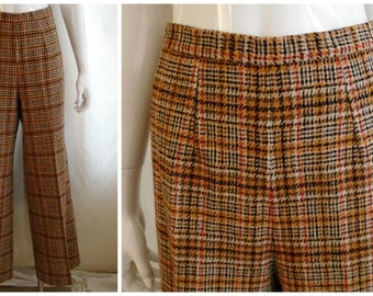 Vintage 1970's Pants Pendleton Plaid Wool Career Graphic Print Flares Boot Cut