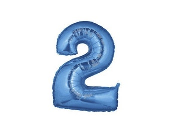 40 Inch Number Two Balloon | 2nd Birthday Balloon | 40 Inch Blue Foil Number Balloon