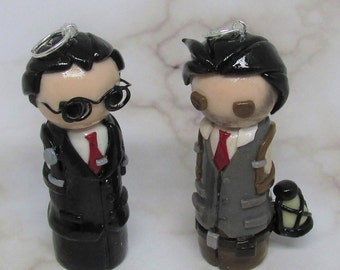 Sebastian Castellanos and Joseph Oda, The Evil Within, Horror Games, Seb and Jojo, Polymer Clay, Handmade, Glow in the Dark, Figures