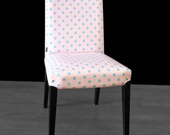 Pink Blue Polka Dot HENRIKSDAL Dining Chair Cover, Spotty Henriksdal Seat Cover