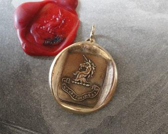 Unicorn Wax Seal Charm - Persevering Faithful - antique wax seal jewelry pendant Latin motto Steadfast by RQP Studio