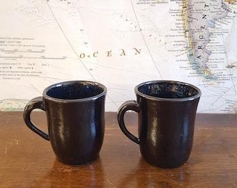Set of Black Ceramic Mugs with Dark Blue Inside