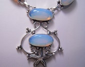 Need Engery Wear...The Beautiful Opalite Necklace and Earrings From Australia...Set In Sterling Silver...ON SALE