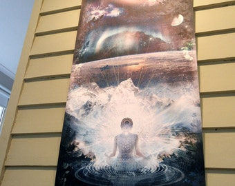 "Mounted Canvas Art Banner - ""Stardust"" - 127x63cm - Visionary Spiritual Meditation Universe galaxy space Artwork Digital Illustration"