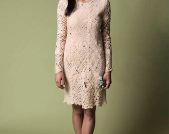 Boho lace felt dress, Alternative short wedding dress, See through Party / Cocktail Dresses for women, Winter sheer mesh dress