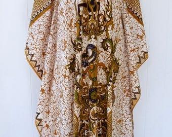 70's Thai Gods Caftan Rahu Batik Cotton Angel Wing Novelty Print Dress Maxi Tunic Hostess Gown Beach Coverup Dashiki M