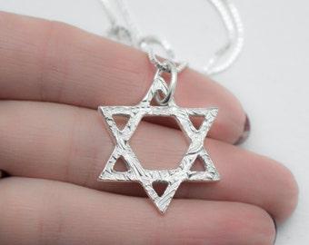 Star of David Necklace , Jewish Jewelry , Shield of David , Magen David , Pure silver Star of David , Judaism Jewelry , PMC pure silver