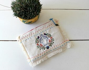 Embroidered Clutch,cotton canvas,mexican embroidery,frayed edges, handbag.Rustic wedding,owl pendant,gift,eclectic.Folk summer bag. Sale