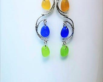 Genuine Beach Sea Glass Earrings - Butterscotch  Cobalt  Lime Sea Glass Dangles