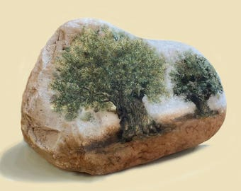Painted pebbles Etsy. The Olive trees. Original oil painting on the Jordan River and the Sea of Galilee's pebbles.  By  Miki Karni.