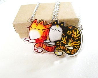 Cat necklace pendant, Acrylic jewelry, animal charm, cat charm,
