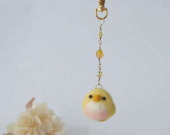 Needle felted Yellow bird Bag charm, Felted charm, hanging bird accessory