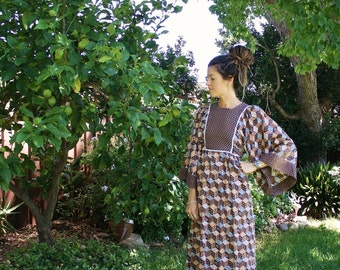 70s Hippie Dress, Bohemian Patchwork cotton Kimono sleeves RickRack trim Brown Blue Maxi dress Festival dress, Medium 3893