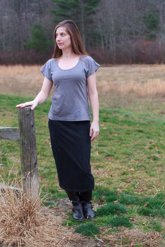 Stretch Denim Pencil Skirt, Long Pencil Skirt, Organic Cotton Denim Skirt, Handmade Eco Friendly Straight Skirt