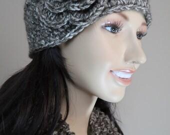 Crochet Flower Head Wrap Earwarmer Winter Headband Light Brown Heather with Wood Buttons