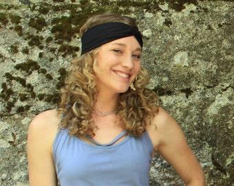 Yoga Headband-womens headbands-yoga accessories-womens fashion-workout headband-stylish headbands-festival gear-yoga gear-headwrap-black