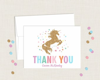 Unicorn Thank You Cards / Personalized / Blank Thank You Cards / Children's Thank You Card / Kid's Thank You Card / Printable / Rainbow