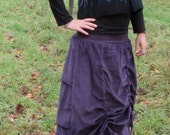 Gypsy skirt  Tribal clothing  Dusty purple  Corduroy   Bustle skirt  Steampunk  Long skirt  Winter skirt