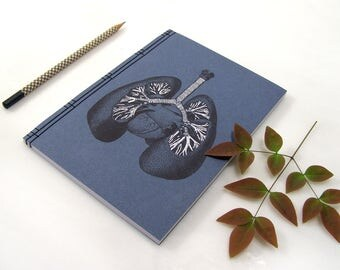 Lungs Anatomy Journal. Trachea and the Bronchial Tree. Embroidered Notebook. Lungs Anatomical Notebook. Doctor's Gift. Medical Student Gift