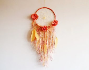 Bohemian dreamcatcher, nursery dreamcatcher, wall hanging, large, nursery decor, boho nursery, poppies, handmade, for girls, boho wall decor