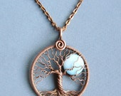 Full Moon Tree of life pendant necklace Copper and Mother of Pearl Shell pendant round copper Blue moon Lunar jewelry Diameter 1.7 inches