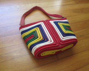 Gorgeous Vintage 1940s 40s Primary Colors Plastic Telephone Cord Coil Purse Handbag with Geometric Design -Art Deco-Pinup-Bombshell-Vixen