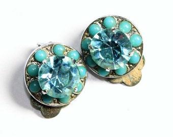 Pale Blue Earrings, Sparkly Earrings, Rhinestone Earrings, Turquoise Blue Earrings, Blue Button Beads Clip On Earrings (c1930s) - Wedding