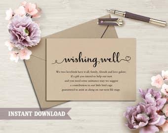 Wishing Well Card, Wedding Wishing Well Wishing Well Printable Wishing Well Bridal Shower Wedding Insert rustic Script Wishing Well Template