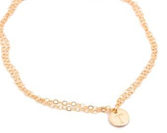 Initial Charm Bracelet • Personalized Bracelet in Gold Filled, Silver, Rose Gold • Disc Bracelet • Double Wrap Bracelet • Wedding | 0088-1BM