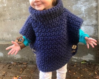 Crochet Navy Blue Pullover with Cowl Neck - Toddler Size 2
