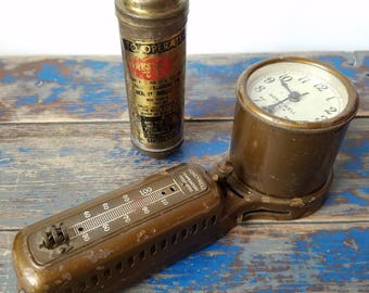 INDUSTRIAL FACTORY SALVAGE Brass Gage & Canister