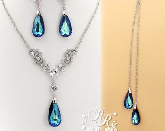 Wedding Necklace Earring Swarovski Bermuda Blue Crystal pendant Zirconia Rhinestone Necklace Earrings Wedding Jewelry Bridal Jewelry Pazu