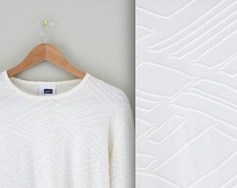 80s White Embossed Pattern Blouse Top