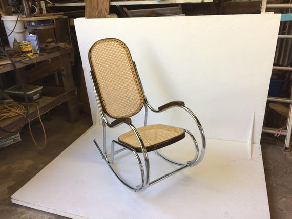 Chrome Cane Back Rocking Chair from Feath & Kee