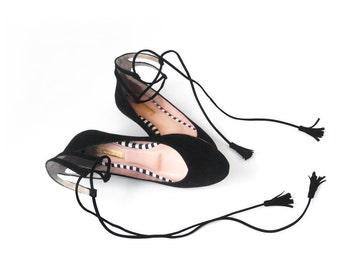 BLACK BALLET FLATS  - Black Ballerinas - Faux Suede Textile - Mina Shoes Mexico - Style Name: NeoMerlina