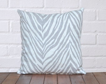 Grey & White Animal Stripe Linen Pillow